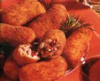 Aardappelkroketjes met champignons en spek