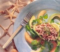 Garnalen met avocado en meloen