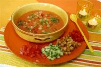 Gazpacho met sjalotten (koude Spaanse soep)